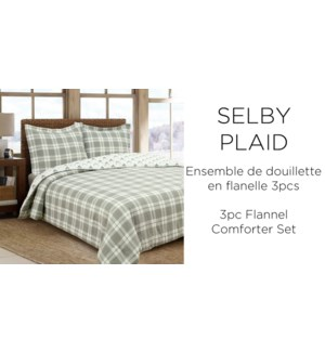 3PC SELBY PLAID cotton FLANNEL-Gris-K 104x92-comforter set