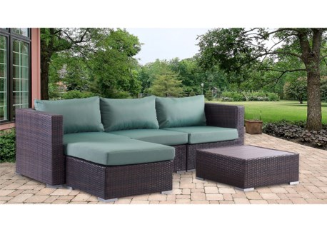 4PCS CORNER OUTDOOR SOFA SET IN RESIN WITH BLUE CUSION