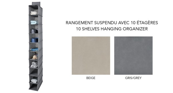 10 'tagŠres suspendues organisateur 15x30x127-24B