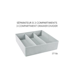 Tiroir diviseur en 3, 35,5x35,5x10 - 24B