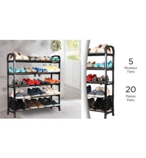 5 Tier Shoe Rack - 20 Pairs - 72x20x75 - 12B