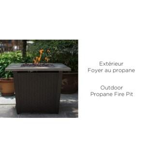 BROWN IRON OUTDOOR PROPANE FIREPIT - 70X70X61CM