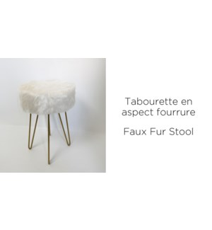 GOLD METAL STOOL WITH POLYESTER FAUX FUR 30x30x40cm 4/b