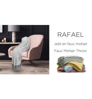 RAFAEL faux mohair throw  50X60 ASST. 6B