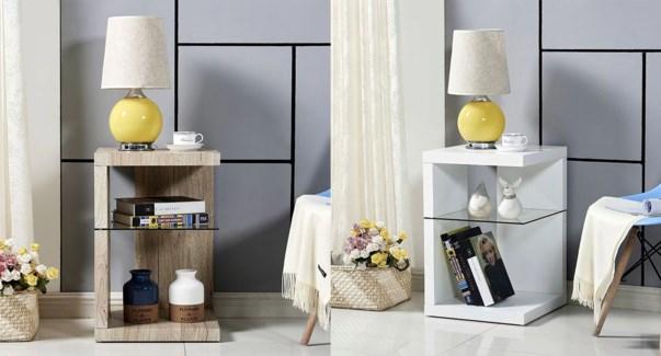 Table d'appoint moderne w/plateau blanc 395x395x605mm 1/bx