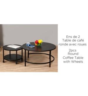 2PC SET DE RONDE TABLE DE CAFE NOIR