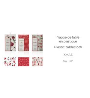 "XMAS 19 PLASTIC-ASSORTED-Round 60"" -TABLECLOTH 12/B"