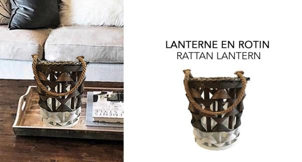 RATTAN LANTERNE 17X17X25 Noir/Blanc 6/B