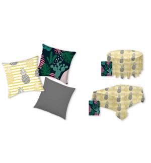 Pineapple Square Cushion grey/yellow 17X17 8/B