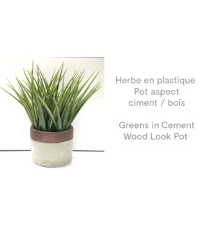 Pot d'aspect bois / ciment Greens - 12x24-8B