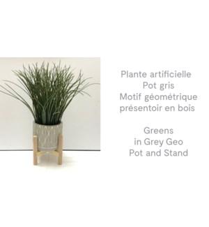 Verts en pot Geo gris et support 14x35-8B