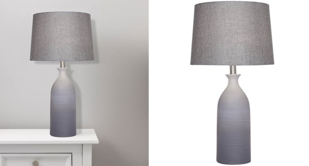 LAMPE DE TABLE EN CERAMIQUE GRIS 33x33x60CM 2B