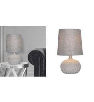LAMPE DE TABLE EN BETON ET ABAT-JOUR EN TISSU GRIS 26X26X44