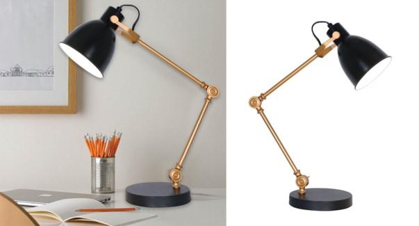 LAMPE DE TRAVAIL EN METAL AVEC BRA AJUSTABLE NOIR 15x33x43cm