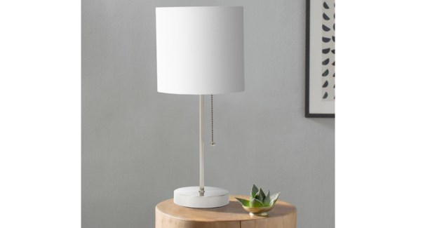 Lampe de table en m'tal blanc 19x19x42-4B