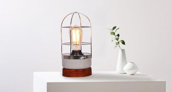 Lampe … b'ton en cage avec ampoule - 12x12x26-4B