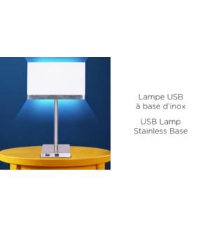 LAMPE USB Base en Inox 8x8x18-4B
