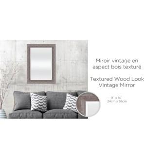Miroir vintage aspect bois taupe textur' 24x36-2B