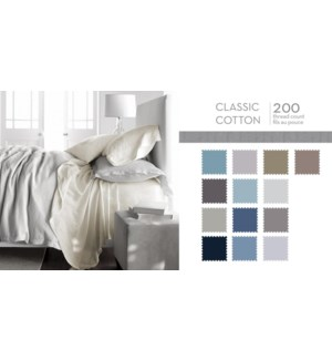 CLASSIC COTTON T200 FITTED SHEET ASST 3/4 10