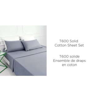 """ENSEMBLE DE DRAPS T600 COTON white F 54X76"""" 6/B"""