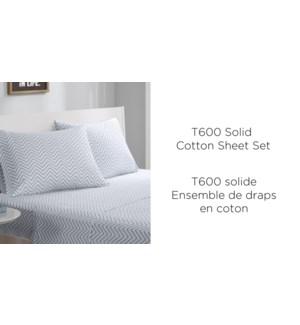 """ENSEMBLE DE DRAPS T600 COTON ASST. Q 60X80"""" 6/B"""