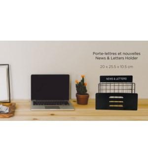 Porte-lettres et nouvelles - Noir - 20x25.5x10.5 - 8B