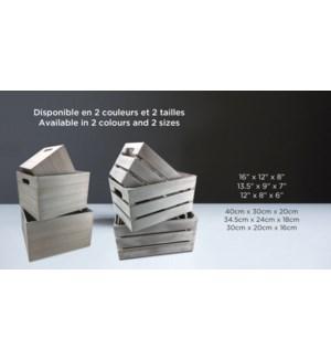 Crate Wood & White Wash-Blanc-40x30x20-2/B