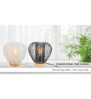 Lampe Fil Courb' 27.5x27.5 - Blanc-Avec Ampoule - 4B