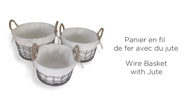 Wire Basket w/Jute & Design - 37x21 - 2B