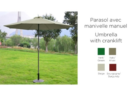 KHAKI 2.7M UMBRELLA WITH CRANKLIFT -180GR POLYESTER -8RIBS
