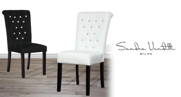 Velvet Diamnd Blk Chair Pr