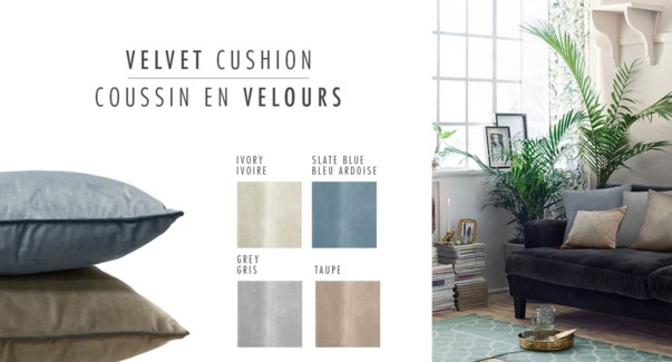 COUSSIN EN VELOURS TAUPE 20X20