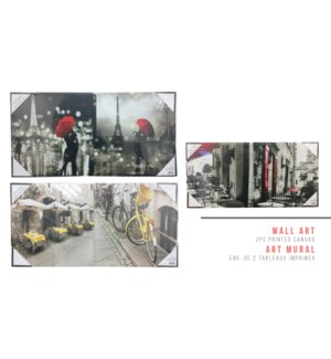 ART MURAL ENS. DE 2 TABLEAUX IMPRIMES ASST PK B 12X12 12B
