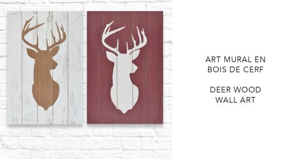 Art mural en bois de cerf - 40x60 - 8B