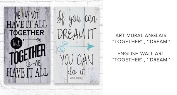 Art mural anglais ensemble / rˆve - 30x50 -12B