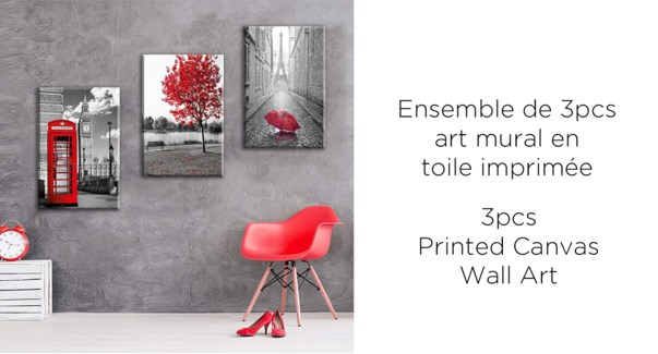 Paris 3PC Canvas Wall Art - 38x57x2.5(3) - 6B