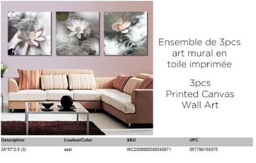 Floral 3PC Canvas Wall Art 38x38 (3)- 6B