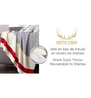 work sock throw sherpa back GRY/RED/WHI 50X60 6/B