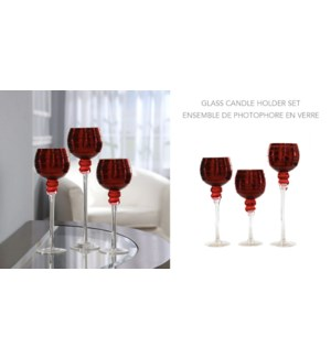 3PC BOUGIE SET - Rouge - 30x35x40 3B