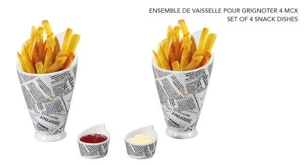 ENSEMBLE DE 4 PLAT A SNACK IMPRIME PAPIER JOURNAL