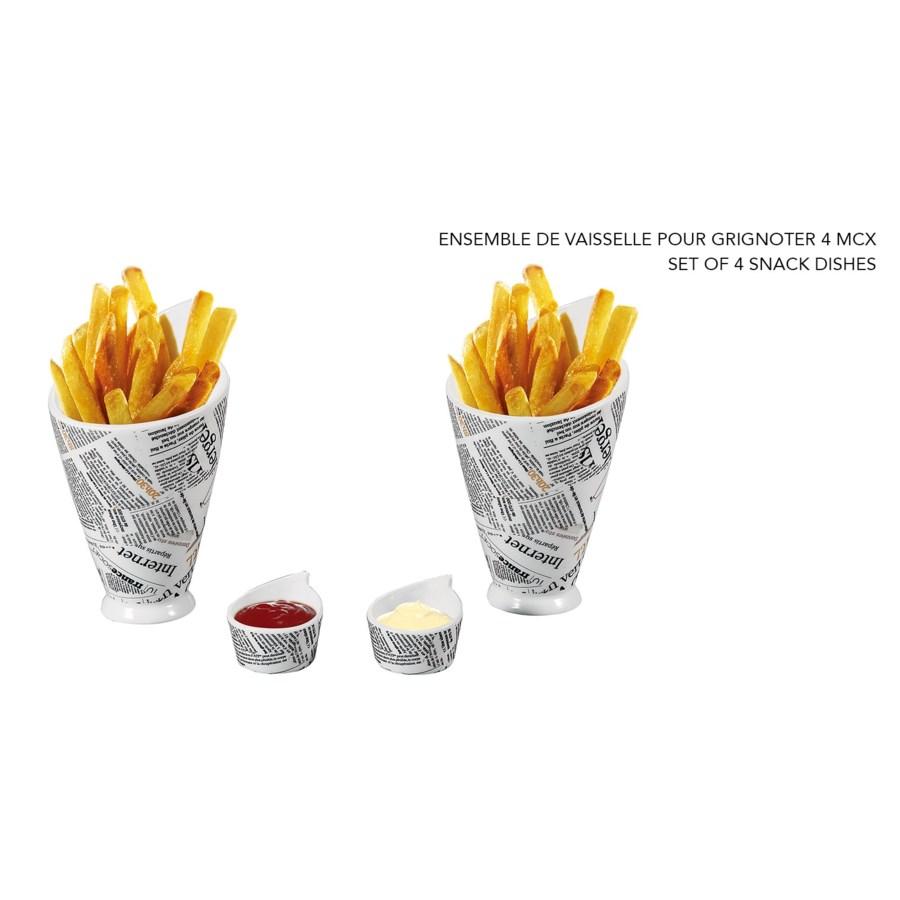 Image De Plat De Cuisine ensemble de 4 plat a snack imprime papier journal - kitchen
