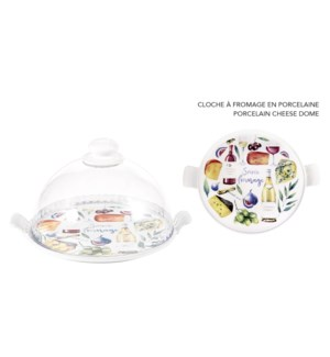 CLOCHE A FROMAGE PORCELAINE IMPRIME FROMAGE
