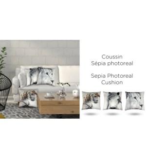 HORSE SADDLED sepia photoreal cushion 18x18 off whi/grey 6B