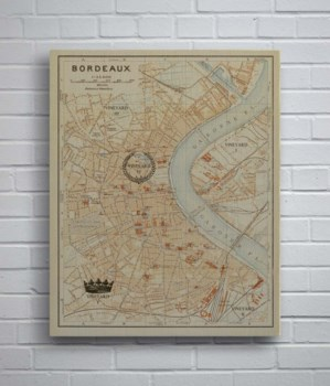 Bordeaux Map Vintage Crowns-Maps and Historical