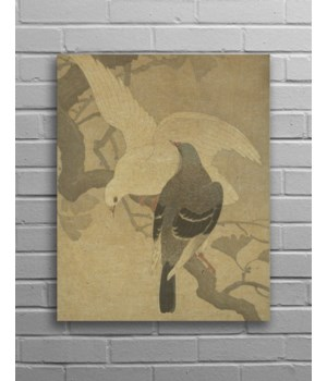 Pigeons Hemp Panel-Animals and Nature