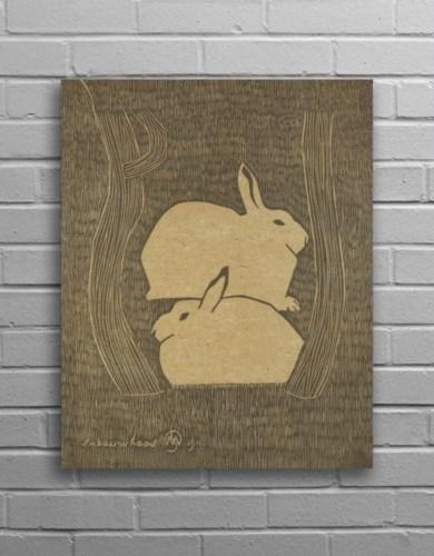 Bunny Hemp Panel-Aminals and Nature