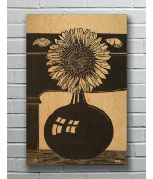 SUNFLOWER VASE ETCHING Hemp Panel