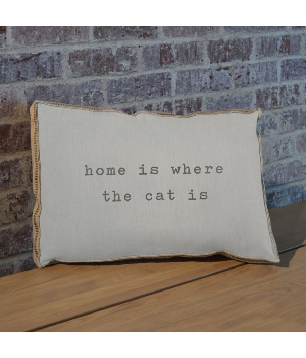 Home is where the cat is pillow