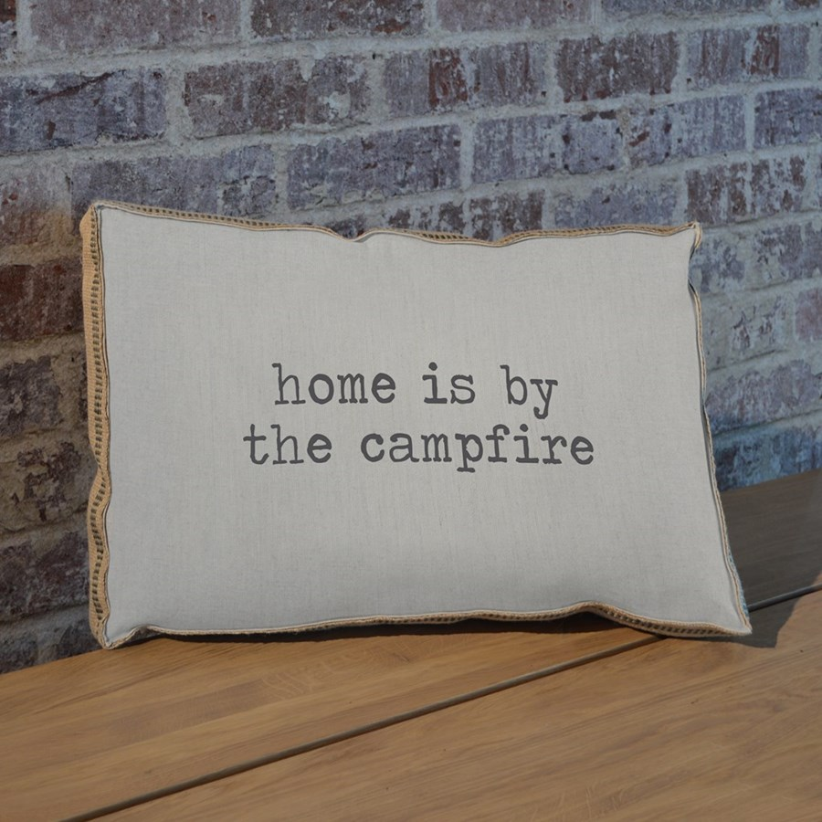 Home is by the campfire pillow