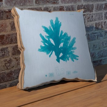 Sea Fan teal pillow-Coastal and Tropical